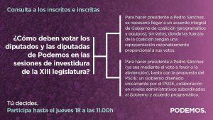 Lee más sobre el artículo ¿Cómo deben votar las diputadas y diputados de Podemos en las sesiones de investidura de la XIII legislatura? Consulta ciudadana